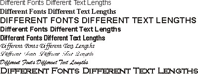 Different Fonts have Different Text lengths