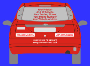 Self adhesive Vinyl Rear Window and Bumber Signs for advertising your services