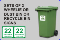 Online Shopping for Pairs of Wheelie Bin and Dust Bin Signs