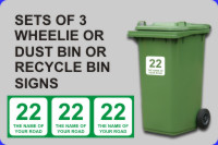 Online Shopping for Sets of 3 Wheelie Bin Signs