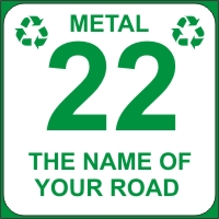 Identify your Wheelie and Metal Recycle Bins with your House number and street name