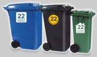 Identify your Wheelie and Recycle Bins with your House number and street name.
