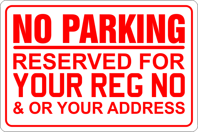 No Parking Reserved For Rigid Sign Board 20cm X 30cm WR