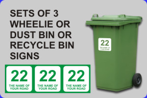 Click to Buy Set Of 3 Wheelie Bin & Recycle Bin Signs